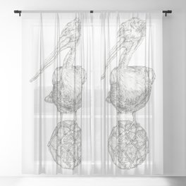 Holding on - The Dalmatian Pelican Sheer Curtain