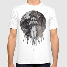 Why are You Haunting Me? White Mens Fitted Tee MEDIUM