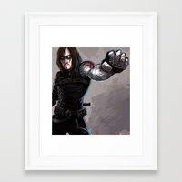 bucky barnes Framed Art Prints featuring Bucky Barnes by Andreea Rosu