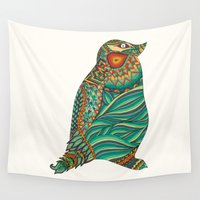 ethnic Wall Tapestries featuring Ethnic Penguin by Pom Graphic Design
