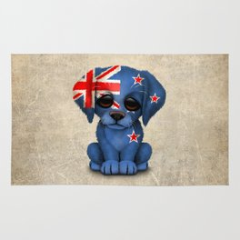 Cute Puppy Dog with flag of New Zealand Rug