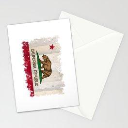 California Republic flag on woodgrain   Stationery Cards