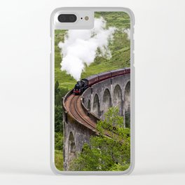 A train journey is another world. Clear iPhone Case