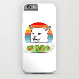 Cat Meme Woman Yelling At Table Dinner Ugly Christmas Gift iPhone Case