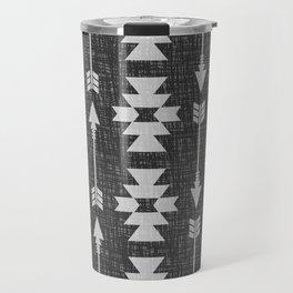 Southwestern Arrow Pattern 238 Black Grey and White Travel Mug