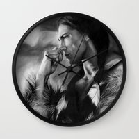 native american Wall Clocks featuring Native American  by Thubakabra