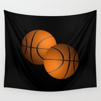 basketball Wall Tapestries featuring Basketball Design  by Leatherwood Design