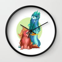 ferret Wall Clocks featuring Ferret Dragons by Allie MacAlister Illustration
