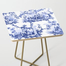 Blue Chinoiserie Toile Side Table
