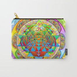 Inner Strength Psychedelic Tiger Sri Yantra Mandala Carry-All Pouch
