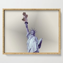 Statue of Liberty with flowers Serving Tray