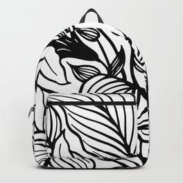 White Black Floral Minimalist Backpack