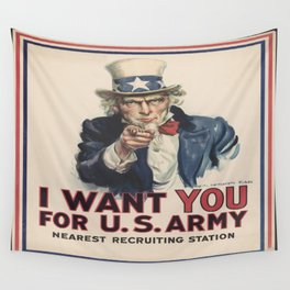 Vintage poster - Uncle Sam Wants You Wall Tapestry