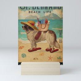 Beach Life Sandy Toes St Bernard dog gift Mini Art Print