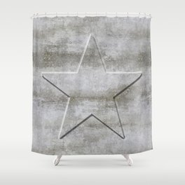 Solid Star in grey conrete Shower Curtain