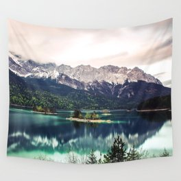 Green Blue Lake and Mountains - Eibsee, Germany Wall Tapestry