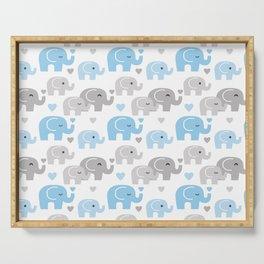 Blue Gray Elephant Baby Boy Nursery Serving Tray