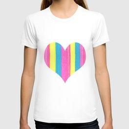 Neon Striped Heart T-shirt