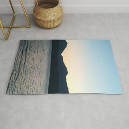 Sunset and Crescent Moon over the Water Rug