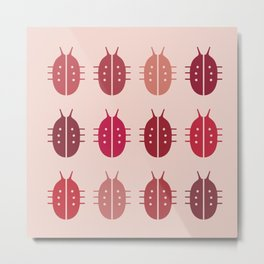 LADYBIRDS ON PINK BACKGROUND Metal Print