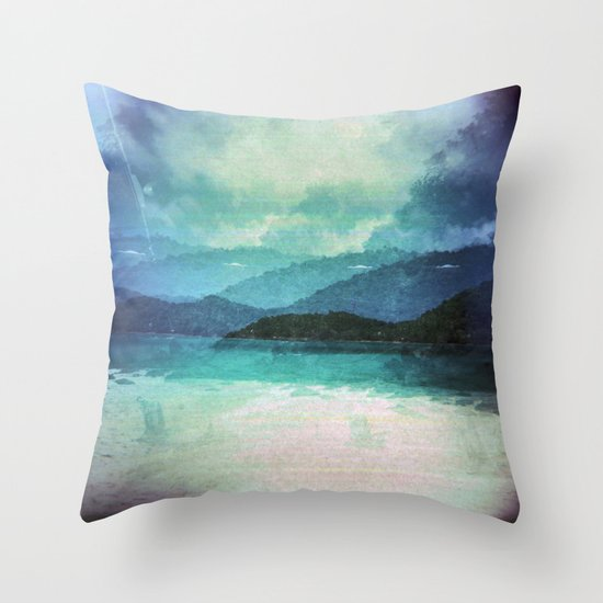Tropical Island Multiple Exposure Throw Pillow