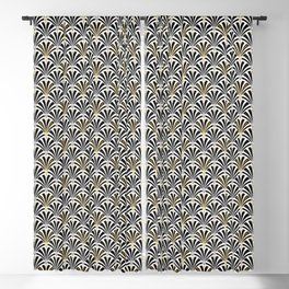 Art Deco Fan Pattern, Black and White Blackout Curtain
