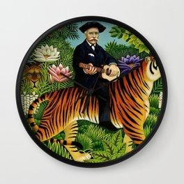 Henri Rousseau Dreaming of Tigers tropical big cat jungle scene by Henri Rousseau Wall Clock