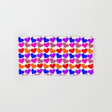 Colorful Hearts Pattern Hand & Bath Towel
