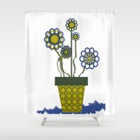 leah flores Shower Curtains featuring Flores by Constant