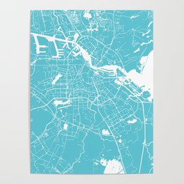 Amsterdam Turquoise on White Street Map Poster