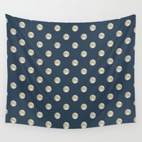 polka dot Wall Tapestries featuring Full Moon Polka Dot by Paula Belle Flores