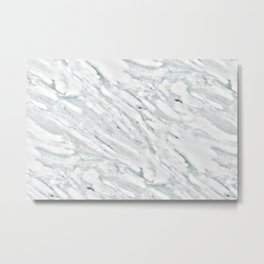 Real Marble Pattern - Swirly White and Gray Marble Metal Print