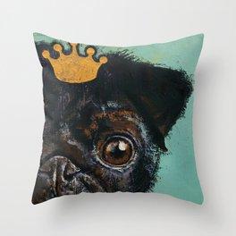 King Pug Throw Pillow