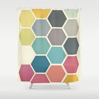 cassia beck Shower Curtains featuring Honeycomb II by Cassia Beck