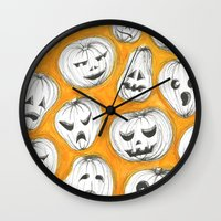 pumpkin Wall Clocks featuring Pumpkin by Saoirse Mc Dermott