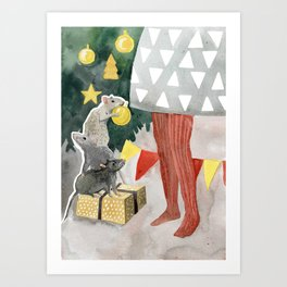 Christmas tree decoration and nice mouses Art Print