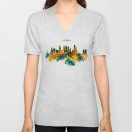 Philadelphia Watercolor Skyline Unisex V-Neck
