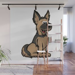 Cute German Shepard Dog Cartoon Wall Mural