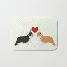 Pembroke Welsh Corgi Dogs Art - two corgis in love Bath Mat