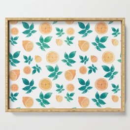 Yellow Lemon Fruit and Leaves White Pattern Serving Tray