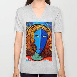 Blue Girl série portrait pop and fauve art Unisex V-Neck