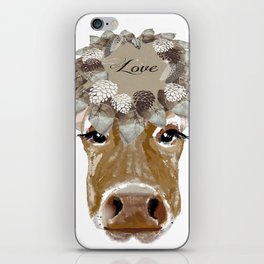 Cow with Love Hat iPhone Skin