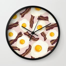 Bacon and Eggs Pink Wall Clock