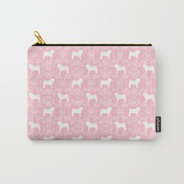 Pug silhouette florals pink pattern for pug dog lover pet pattern gifts Carry-All Pouch