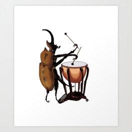 Beetle Tries Timpani Art Print