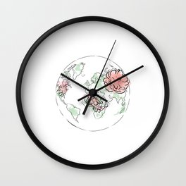 Antique World Map #Red Wall Clock
