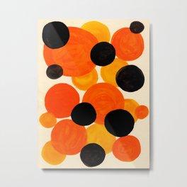 Halloween Orange & Black Watercolor Bubbles Metal Print