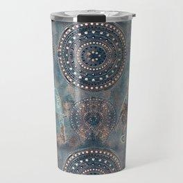 Elephant Ethnic Style Pattern Teal and Copper Travel Mug