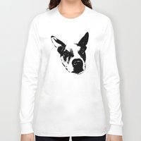 pit bull Long Sleeve T-shirts featuring Pit Bull Boxer Mix by MIX INX
