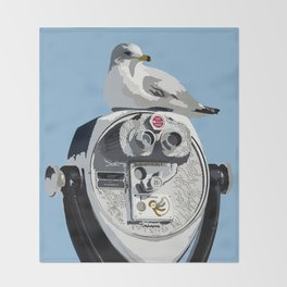 Seagull on Binoculars by the Ocean Illustrated Print Throw Blanket